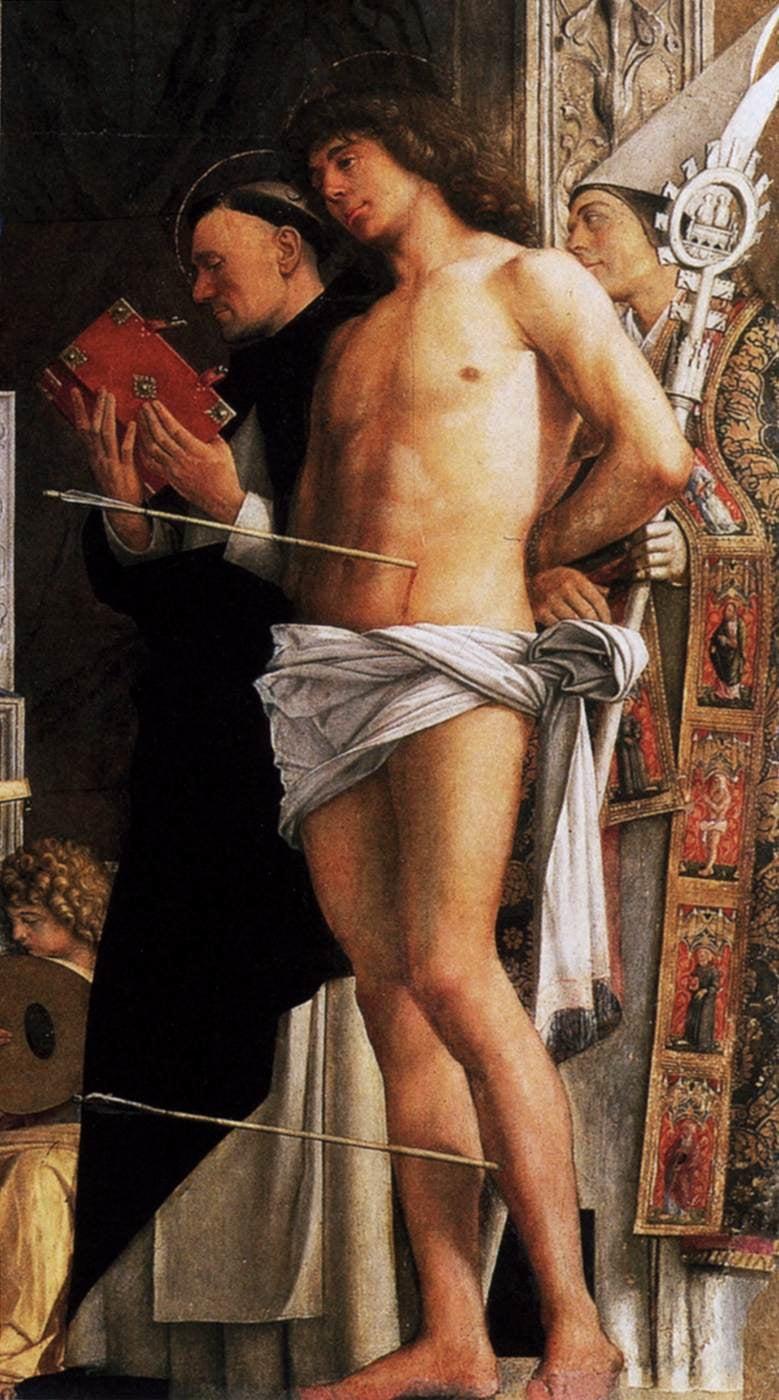 San Sebastiano (part.), G. Bellini, 1487, Gallerie dell'Accademia