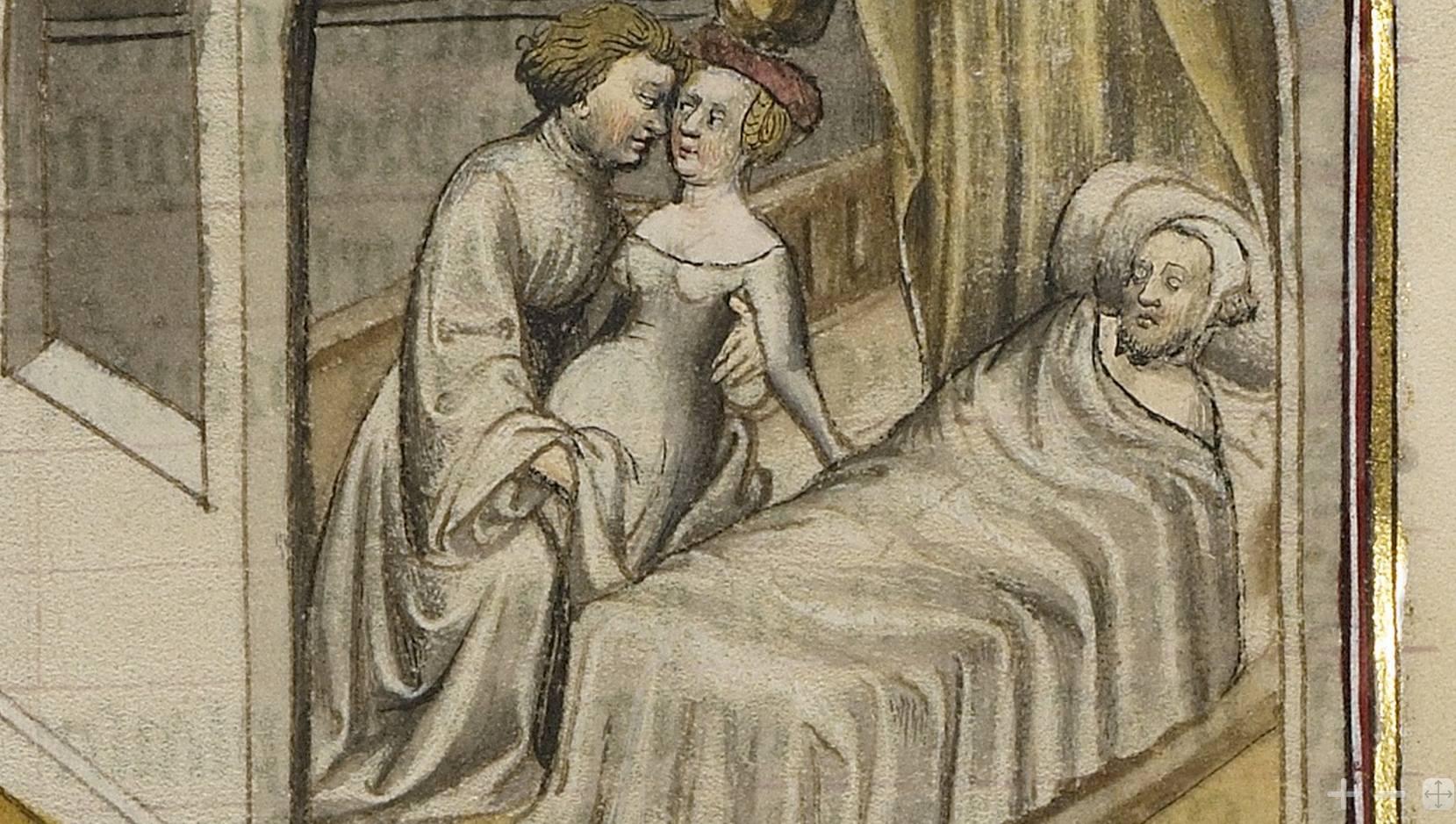 Una donna si incontra con l'amante mentre il marito dorme. Romanzo della Rosa, c. 1405, The J. Paul Getty Museum, Los Angeles